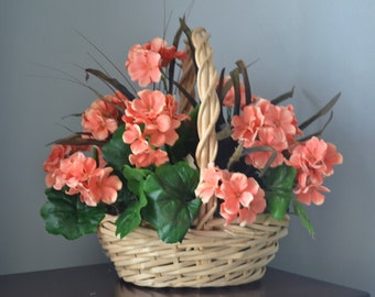 PEACH GERANIUM Arrangement Large Basket Floral Arrangement
