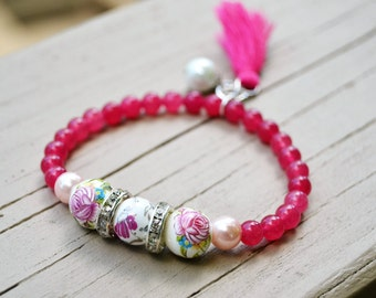 RASPBERRY QUARTZ Ceramic Roses Beaded Stretch Bracelet with Tassel and Pearl Charms