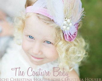 Mauve Ivory Pearl and Crystal Cluster Embellishment Vintage Feather Headband  Infant Toddler Child Adult
