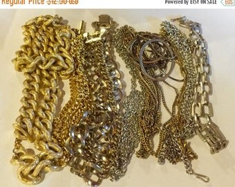 MOVING SALE Half Off Destash Craft Lot of Vintage and Salvaged Mixed Metal Chains for Assemblage