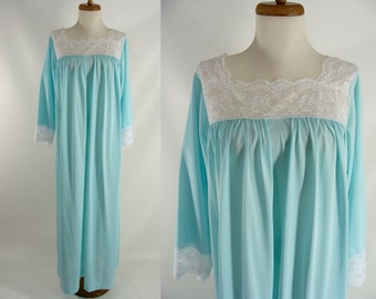 As-Is vintage 80s Colony Club Pale Blue Nylon Lace Modest Nightgown or Customizable Zombie Granny Costume OPTIONAL BLOOD Size M L