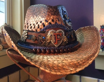 Florida, UF, College, University of Florida Collegiate Embellished Cowgirl Hat. Game Day. Orange and Blue. Fall Football. Team Spirit.