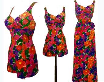 Vintage 1950s Swimsuit//Jantzen//50s Bathing Suit//Sarong Skirt// Pinup//Bombshell