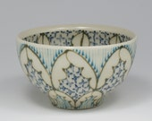 Small Wheel Thrown Handmade Ceramic Bowl with Dark Green, Turquoise and Navy Pattern