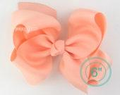 """Extra Large Hair Bow, Peach Hair Bow, 6"""" 6 inch hair bows, big bow, giant bow, extra large bow, hair bows for girls xl, 6"""" Bows for girls"""