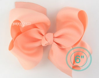 "Extra Large Hair Bow, Peach Hair Bow, 6"" 6 inch hair bows, big bow, giant bow, extra large bow, hair bows for girls xl, 6"" Bows for girls"