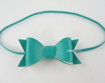 Newborn Headband - teal headband - faux leather small headband - infant headband - baby headband, leather bow headband, caribbean blue green