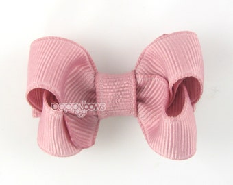 Small Hair Bow 2 Inch in Mauve - Toddler Hairbow Non Slip Alligator Clip - for Baby Girls
