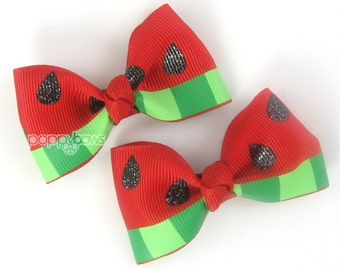 """Watermelon Hair Clips - Girls Hair Bows 2.5"""" - Red and Green Hair Bows - Watermelon Hair Bows - Summer Hair Bows Baby Girls Hair Clips AP"""