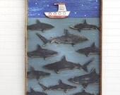 "Shark Boat Art Shark Folk Art Nautical Decor Nursery Wall Art Kids Room Fish Decor ""Your Gonna Need a Bigger Boat"""