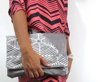 tribal foldover clutch. handbag in gray tribal and nickel leather. boho Fall fashion.