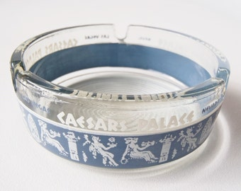Caesar's Palace Ashtray Las Vegas Nevada Vintage 1960s Clear Glass Blue & White Frieze Design Advertising Collectible Rat Pack Tobacciana