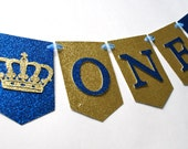 Little Prince High Chair Banner, Prince Banner, Royal Blue and Gold Banner, Glitter Banner, Boy Birthday Banner, Prince Party Theme (PRIN-2)