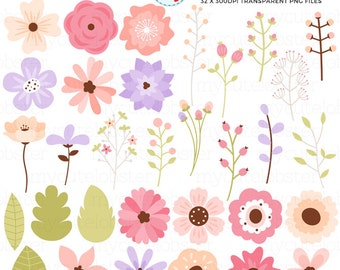 Floral Elements Clipart Set - flowers, leaves, buds, clip art set, flower, wedding - personal use, small commercial use, instant download