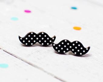 Moustache Earrings | Polka Dot Earrings | Nickel Free Earrings | Movember Earrings | Mustache Jewellery for Mo Sistas