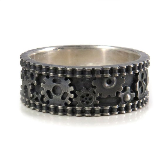 distressed silver gear ring mens industrial steunk