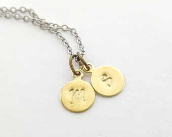 Mothers Necklace - Mothers Stamped Initial Necklace - Mother's Day Gift - Mothers Jewelry - Personalized Necklace -  Mixed Metal Necklace