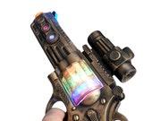 Steampunk gun cyber gothic toy  pistol  gun laser LIGHT Victorian cosplay prop theatre Zombie man gold tone Wholesale Price