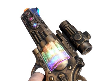 Steampunk gun cyber gothic toy  pistol  gun laser LIGHT Victorian cosplay prop theatre Zombie man gold tone Wholesale Price