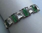 Antique Silver Glass Stone Art Deco Bracelet