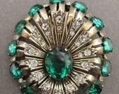 ON SALE Vintage Eisenberg Original Brooch Sterling Silver Vermeil And Green Rhinestones Antique Fur Clip Pin Jewelry Circa 1940