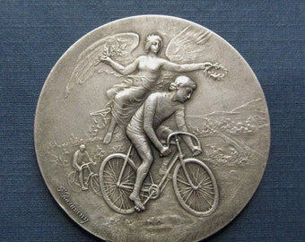 On Sale Antique French Angel Of Victory Cyclist 950 Sterling Silver Art Nouveau Medal By Felix Rasumny  SS88
