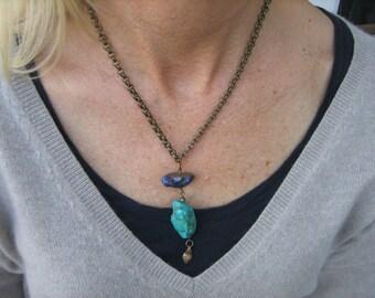 TURQUOISE PENDANT NECKLACE  purple mystic quartz handmade clasp