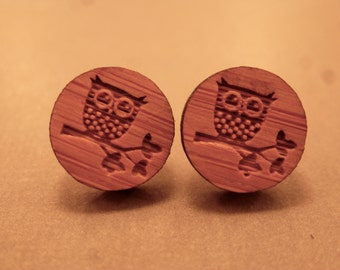 Owl Studs: Wooden Owl Stud Earrings, Bird on a Branch, Owl Jewelry, Wooden Plugs, Fake Plugs, Wooden Earrings, Owl Stud Earrings