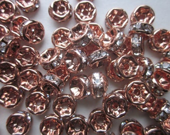 Rose Gold Spacer Beads 6x3mm 20 Beads