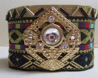 Cuff Bracelet Black Gold Art Deco