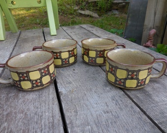 Vintage Set of 4 (Four) Ceramic Soup/Chilli/Stew Mugs with Handles Beige Yellow/Orange Flowers Squares 1960s to 1970s Speckled