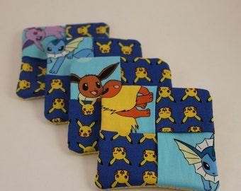 Pokemon & Pickachu Fabric Drink Coasters - blue Set of 4