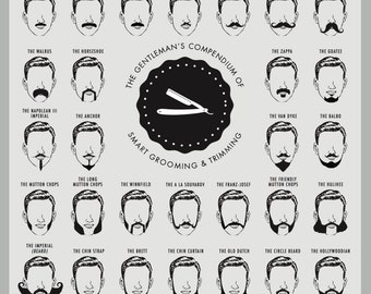 Beard and Mustache Print, Beard Chart, Beard Chart Art Print, Mustache Print, Beard and Mustache Chart, Barber Shop Decor, Fathers Day Gift