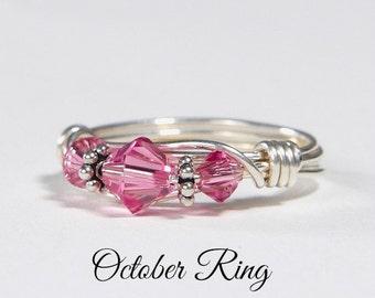 October Birthstone Ring: Handmade Sterling Silver October Birthstone Ring made with Rose Swarovski Crystals. Birthday & Christmas gift