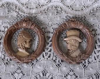 Petite Vintage wall medallions, Pair burwood resin, aristocrat Lady and Man, round medallions