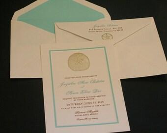 Wedding Invitations, Destination Wedding, Christian, Tropical, Sand Dollar, Gold, Metallic, Vow Renewal, Flat Panel, Wedding Suite, Elegant