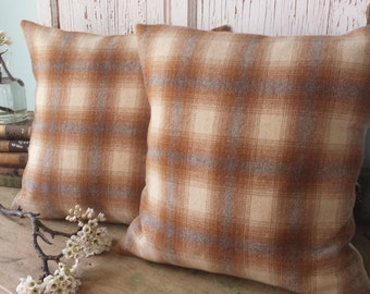 Wool Plaid Pillow Cover - Recycled Wool Pillow Cover,  16 Inch - FREE SHIPPING