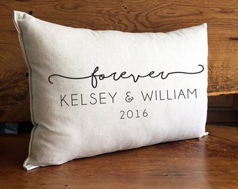 Personalized Pillow With Couples Names and Established Year, Cotton Linen Home Decor Pillow, Personalized Wedding Gift, Forever Anniversary