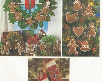 Vintage 80s Felt Christmas Ornaments, Wreath & Stockings Simplicity Sewing Pattern 9648 UnCut Vintage Christmas Patterns