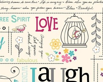 Adornit Rhapsody Chatter Text Word Fabric