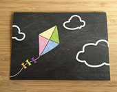 Kite Chalk Art Card - Blank 5x7 Greeting Card with Envelope
