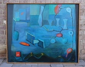 RESERVED for Lee -- Mid Century Modernist Abstract Large Oil Painting - Signed Minerva Broh (1912-2000)