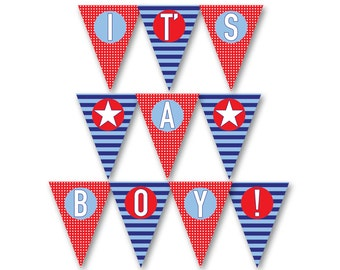 Nautical Baby Shower, Its a boy banner, INSTANT DOWNLOAD, printable baby shower decorations, baby boy shower, Baby shower banner, boy shower