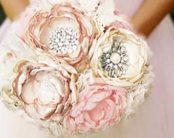 Fabric flower bouquet . Vintage . feather trim . Pink ivory champagne peony roses in ANY COLOR