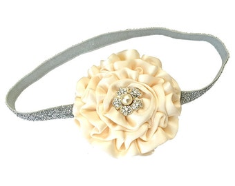 Ivory Headband for Baby Girl - Satin Flower Holiday Photo Prop,  Flower Girl, Wedding, - Baby Shower Gift, Christmas Stocking Stuffer