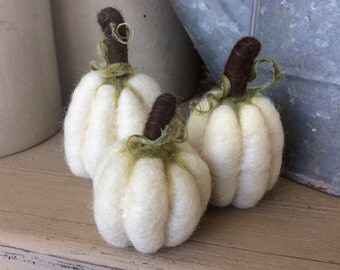 White Baby Boo Pumpkins Gourd Needle Felted Decor - Set of 3