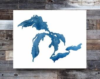 True Blue Great Lakes Print, Great Lakes Art, Great Lakes Map, Great Lakes Decor, Great Lakes Painting, Watercolor Map, Watercolor Print, MI