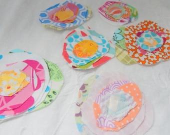 Uncut Fabric Flowers, Embellishment Accessory, Circle Flowers
