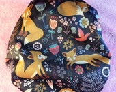 SassyCloth one size pocket cloth diaper with forest fox PUL print. Ready to ship.