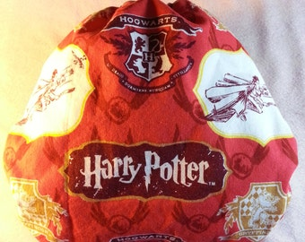 SassyCloth one size pocket diaper with Harry Potter crest red cotton print. Made to order.